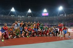 Great picture of camaraderie .. All 26 athletes from the Decathlon event .. 2012 London Olympics