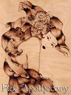 Water Geisha Pyrography by Deven Rue