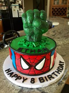 Avengers birthday cake with hulk fist