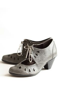 Notable Class Cutout Pumps In Gray 62.99 at shopruche.com. These exquisite gray leatherette pumps feature large cutouts, lace-up closures and cute laser-cut details. With their polished look and fine detail, these shoes are the perfect addition to your collection.Imported, All man made materials, Rubber...