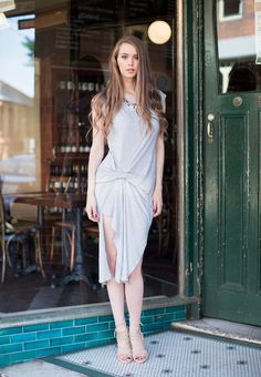 Street Chic, Street Style, Ruched Dress, Grey Fabric, Dress Collection, 30th, White Dress, Collections, Shopping