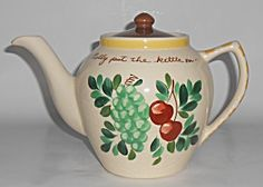 Bauer Pottery Fruit Decorated Motto Teapot W/lid
