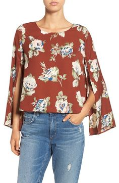 ASTR Split Sleeve Floral Print Top available at #Nordstrom