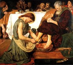 Ford Madox Brown - Jesus Washing Peter's Feet. 1852-56. retouched several times up to 1892. Tate, London.