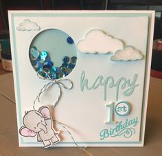Adorable Elephants - My Favorite Things MFT Kids Birthday Cards, Handmade Birthday Cards, Mama Elephant Stamps, Welcome Card, Baby Shower Invitaciones, Stamping Up Cards, Shaker Cards, Card Tutorials, Card Making Inspiration