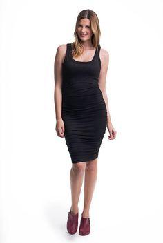 951f4e10d5b0f Gathered Tank Dress - Black Breastfeeding Fashion