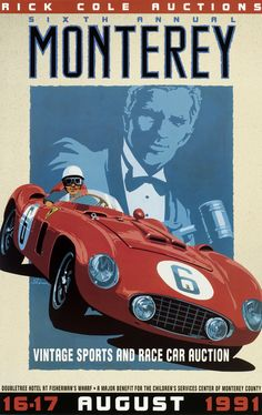 Monterey Auction Poster, Vintage Style, Ferrari, by © Dennis Simon. This poster is available at centuryofspeed.com