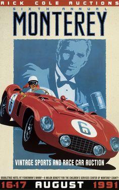 Monterey Auction Poster, Vintage Style, Ferrari, by © Dennis Simon. This poster…