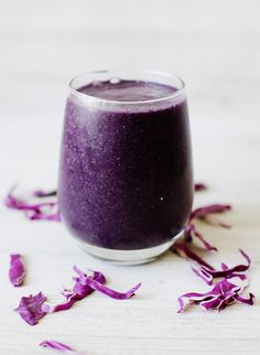 Blueberry-Banana Power Smoothie--You'll never know there is a whole cup of cabbage in it!
