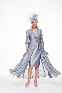 Silk organza jacquard coat over short silk dress. Choice of colours. Individually made to measure.
