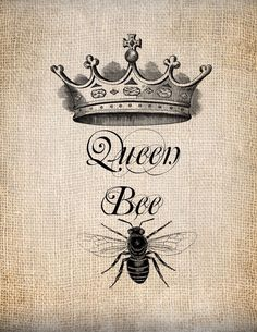 Antique Queen Bee Crown Script Illustration by AntiqueGraphique, Image Paris, Emoticons, Bee Art, Queen Crown, Bee Happy, Save The Bees, Bees Knees, Queen Bees, Bee Keeping