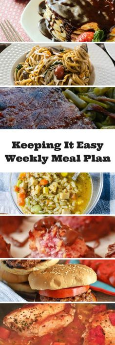 Easy Weekly Meal Plan #4 from My Fearless Kitchen. This week's meal plan includes Strawberry Pancakes with Nutella Syrup, One Pot Tomato Basil Pasta, Sweet & Spicy BBQ Ribs, Curry Turkey & Rice Soup, Skillet Pork Chops with Tomatoes, Cheddar Bacon Ranch Burgers, and Chocolate Dipped Raspberry Coconut Macaroons.
