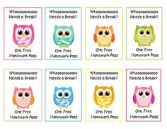 Owl homework passes to distribute how you see fit. :)I just love these owl.*I saw this idea from Amanda McDonald and tweaked it to fit my speci...