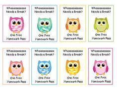 Owl Free Homework Pass