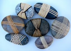 Stones for place setting. These are Dallas Huth's beautiful Rapt Stones. Available through Whidbey Art Gallery.