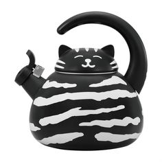Black and White Cat Whistling Tea Kettle Capacity: qt. Material: Heavy gauge stainless steel with enamel finish Hand Wash Only Cute Gift Boxes, Cute Gifts, Crazy Cat Lady, Crazy Cats, Quirky Kitchen, Kitchen Items, Kitchen Stuff, Kitchen Tools, Kitchen Gadgets