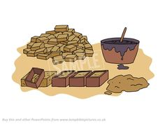 Making bricks; bitumen.