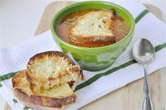 Chicken Parmesan Soup is the perfect soup for a chilly, winter evening. Topped with Parmesan covered crusty bread.