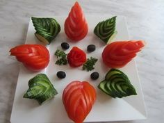 tomato and cucumber art. veggie carving - YouTube
