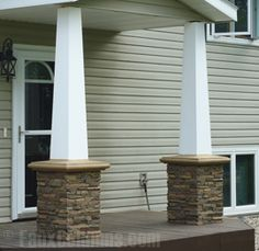 Stone columns columns and bricks on pinterest for Faux wood exterior columns