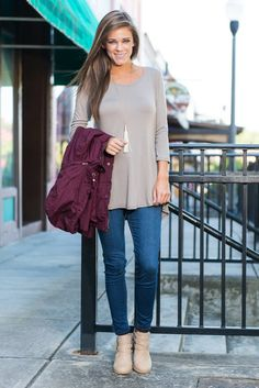 """Beautiful Soul Top, Taupe""This taupe top is so dreamy! You are going to love how soft not only the fabric is but also the color! That soft taupe is perfect for jeans and layering chunky scarves over!  #newarrivals #shopthemint"