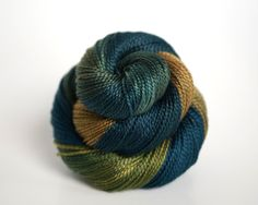 Hand Dyed Pearl Cotton; Pearl 8; indigo blue, teal green, olive green, and forest green; $9.75