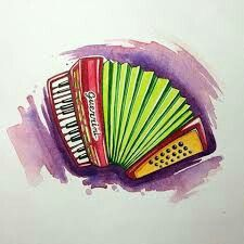 Painting & Drawing, Watercolor Paintings, Piano Accordion, Music Images, Music Tattoos, Tango, My Music, Paint Colors, Art Drawings