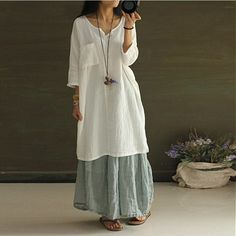 Dress - Women White  Summer Cotton Linen Shirt Dress