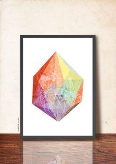 GEOMETRIC Art Poster, Jewel Illustration Art Print 50x70cm, Gem Facet Wall Decor, Abstract imaginary Precious Stone, soft colors