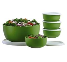 Tupperware Essentials Serving Bowls includes 4 2-cup serving bowls with seals and one large 18-cup serving bowl with seal. http://my2.tupperware.com/tup-html/H/hollytownley-welcome.html Makes a great gift!