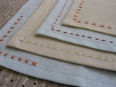 sewing 101: embroidered mitered napkins | Design*Sponge