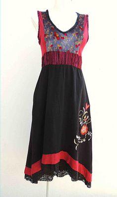 Vestido hipiie negro vino. KarmaLove Puebla. Moda Mexicana