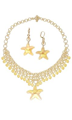 Single-Strand Necklace and Earring Set with Gold-Plated Jumprings and Swarovski Crystal Beads