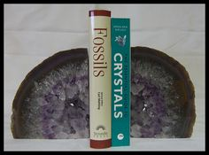 Natural Amethyst Agate Geode Bookend Set Metaphysical Passion Creativity Stone Protection Crystal Feng Shui Trendy Office Home Decor by timelessdesigns07 on Etsy
