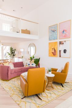 Cheap Home Decor .Cheap Home Decor Living Room And Dining Room Design, Living Room Colour Design, Colourful Living Room, Colourful Home, Colorful Rooms, Retro Living Rooms, Colorful Decor, Sofa Colors, Style Deco