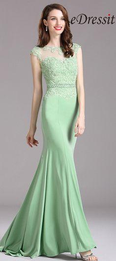 Carlyna Green Lace Beaded Mermaid Prom Dress