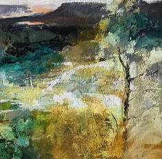 """Joan Fullerton Paintings-Contemporary Abstract Landscape Painting """"Distant View"""" by Intuitive Artist Joan Fullerton"""