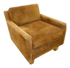 Milo Baughman Brown Leather Suede Lounge Chair