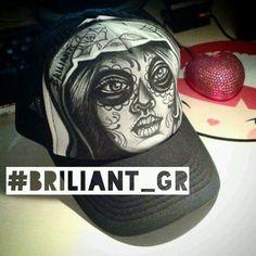 hand painted hat by briliant gr // briliant-hat-project /// hand drawn illustrations on caps by Briliant Gr / every hat is unique / m.facebook.com Briliantpage/ #available #briliantgr #hat #2016 #MUERTO MUERTO muerte #muerte #tattoo #art art on hat   #briliant_gr Briliant gr ☆Hello★I am BrILIAnt self taught artist ★