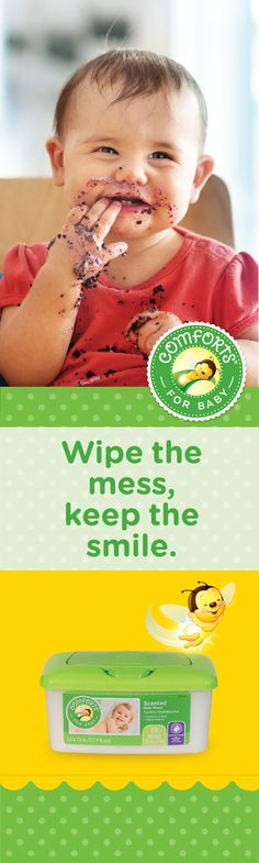 Our baby wipes are cushiony and cloth-like, and they clean and moisturize without alcohol or other harsh chemicals to avoid irritating your baby's skin.  We know that small things can make a big difference, so all of our wipes are alcohol free, hypoallergenic and dermatologist tested. - See more at: http://comfortsforbaby.com/infant#wipes #ComfortsForBaby #ComfortsMessyMoments