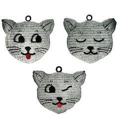 Three Little Kittens Vintage Crochet Pattern Kitty Potholder