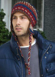 men's ski hat pattern published in Crochet Today! Crochet Adult Hat, Crochet Men, Crochet Patron, Unique Crochet, Crochet Beanie, Free Crochet, Knitted Hats, Crochet Hats, Crochet Scarves