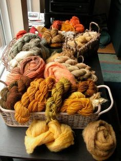 Dyeing wool using mushrooms.