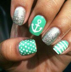 Stripes !  Dots ! #Nails Alternative colours to the nautical design