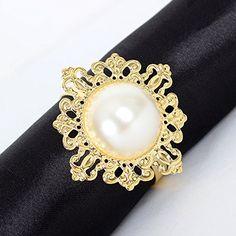 Amazon.com: Icibgoods Round Metal Faux White Pearl Ring Napkin Ring Set of 12 Ring Golden: Home & Kitchen