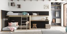 How to design your kid's room - 5 ways you didn't know Bed Storage, Storage Spaces, Teen Bunk Beds, High Beds, College Room Decor, European Furniture, Hanging Rail, Space Saving Furniture, Kids Bedroom