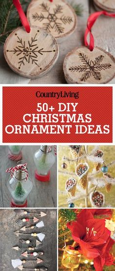 Create a new keepsake with these easy-to-make DIY Christmas ornament ideas. All you need for mini snow globes are plastic old fashioned light bulb ornaments, white glitter, mini bottle brush trees, red and white striped baker's twine, and a hot glue gun.