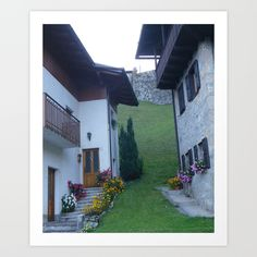 mountain village, alley, Italy, chalet, garden, flowers, green, Spring