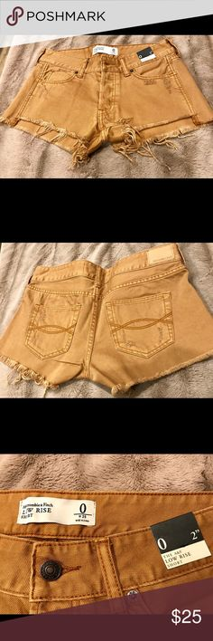 """Abercrombie Short Size 0/25 Rust colored denim short. Distressed with frayed hem. Size 0/25 with 2"""" inseam. New with tags Abercrombie & Fitch Shorts"""