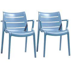 Nero Light Blue Indoor/Outdoor Armchair Set of 2